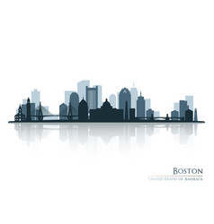 Boston skyline silhouette with reflection vector