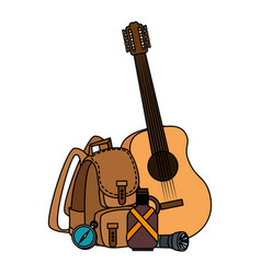 Camping travel bag with guitar and canteen vector