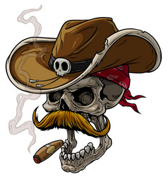 Cartoon cowboy skull with hat mustache and cigar vector