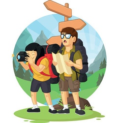 Cartoon of Backpacker Boy Girl Enjoying Vacation vector image