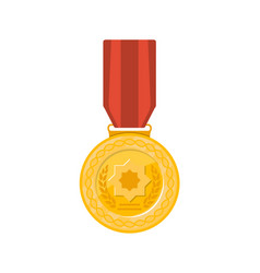 champion golden medal with red ribbon icon vector image