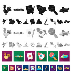 Children s toy flat icons in set collection vector