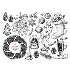 Christmas object set hand drawn vector