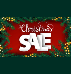 Christmas sale red discount banner with large vector