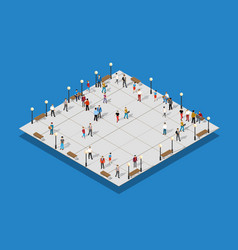 City park with people and 3d vector