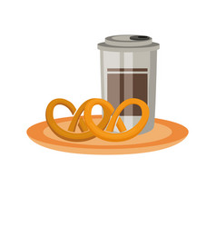 coffee cup and pretzels vector image