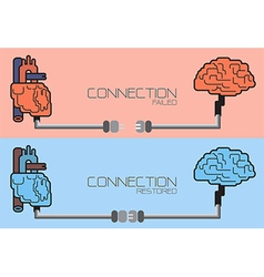 Connection of brain and heart plug concept vector image