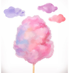 Cotton candy sugar clouds watercolor vector
