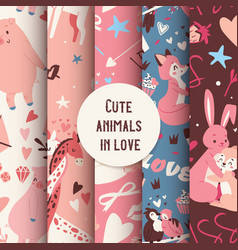 cute animals seamless pattern with kissing vector image