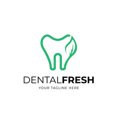 dental with leaf logo design template vector image