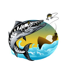 design barracuda fishing vector image