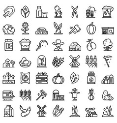 eco farming icons set outline style vector image