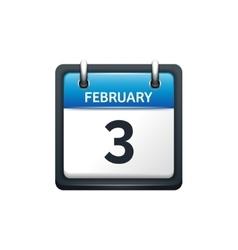february 3 calendar icon flat vector image