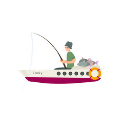 fisherman catching fish on river or sea using vector image