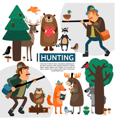 flat hunting composition vector image