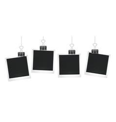 frames hang on clips photo frame design blank vector image