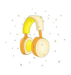 Funny cartoon yellow headphones for listening to vector