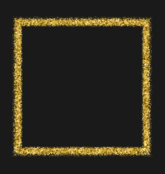 Gold frame glitter texture isolated on black vector