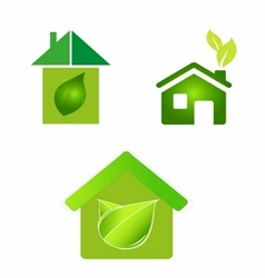 Green eco houses home logo icon vector