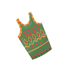 Green warm woolen vest with colorful pattern vector
