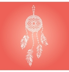 hand drawn white dream catcher vector image
