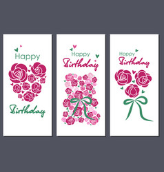 Happy birthday set of three greeting cards vector