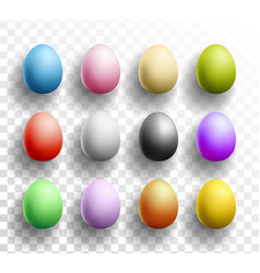 happy easter colored eggs set with shadows on vector image