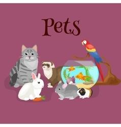 Home pets set cat dog parrot goldfish hamster vector
