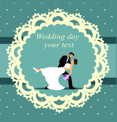 invitation card with bride and groom in vector image