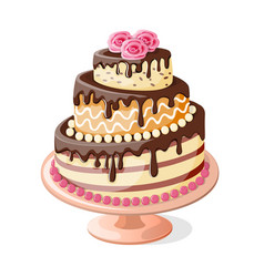 Isolated birthday cake tier with roses vector