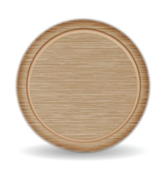 Isolated circle cutting board dark brown oak wood vector