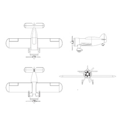 isolated propeller plane set vector image