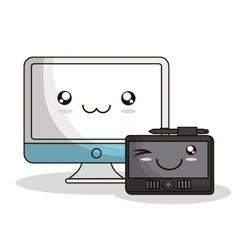 kawaii cartoon technology design vector image