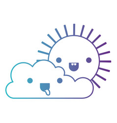 Kawaii cloud and sun in degraded blue to purple vector