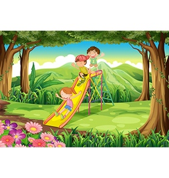 Kids sliding at the forest vector image