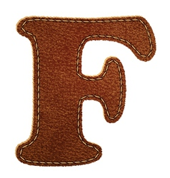 Leather textured letter F vector