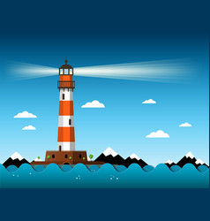 lighthouse with waves on sea building with vector image vector image