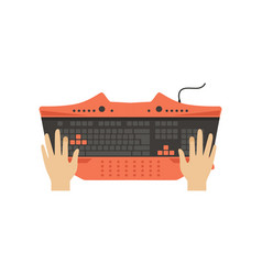 male hands on computer keyboard top view vector image