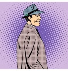 Man coat hat retro style vector
