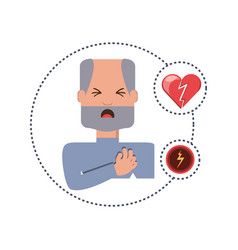 man with heart atack symptoms and condition vector image