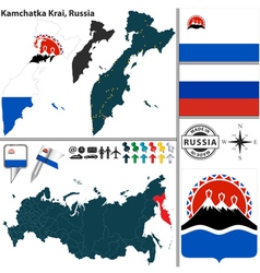 Map of Krai of Kamchatka vector