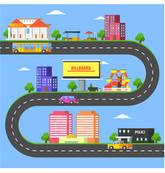 map small town part summer urban landscape vector image