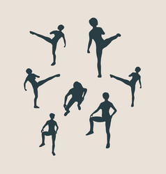 martial arts active women silhouettes vector image