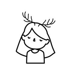 Merry christmas cute little girl with deer horns vector