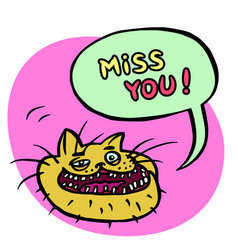 Miss you cartoon cat head vector