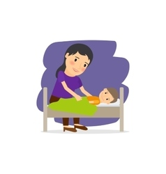 Mother care for the child vector