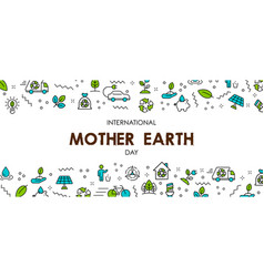 mother earth day banner of nature care icons vector image