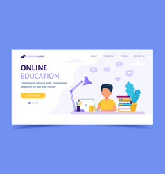 online education for children landing page boy vector image