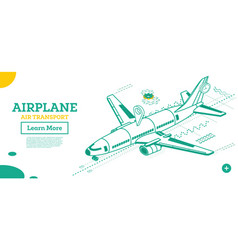 outline isometric airplane isolated on white take vector image