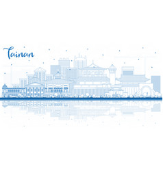 Outline tainan taiwan city skyline with blue vector
